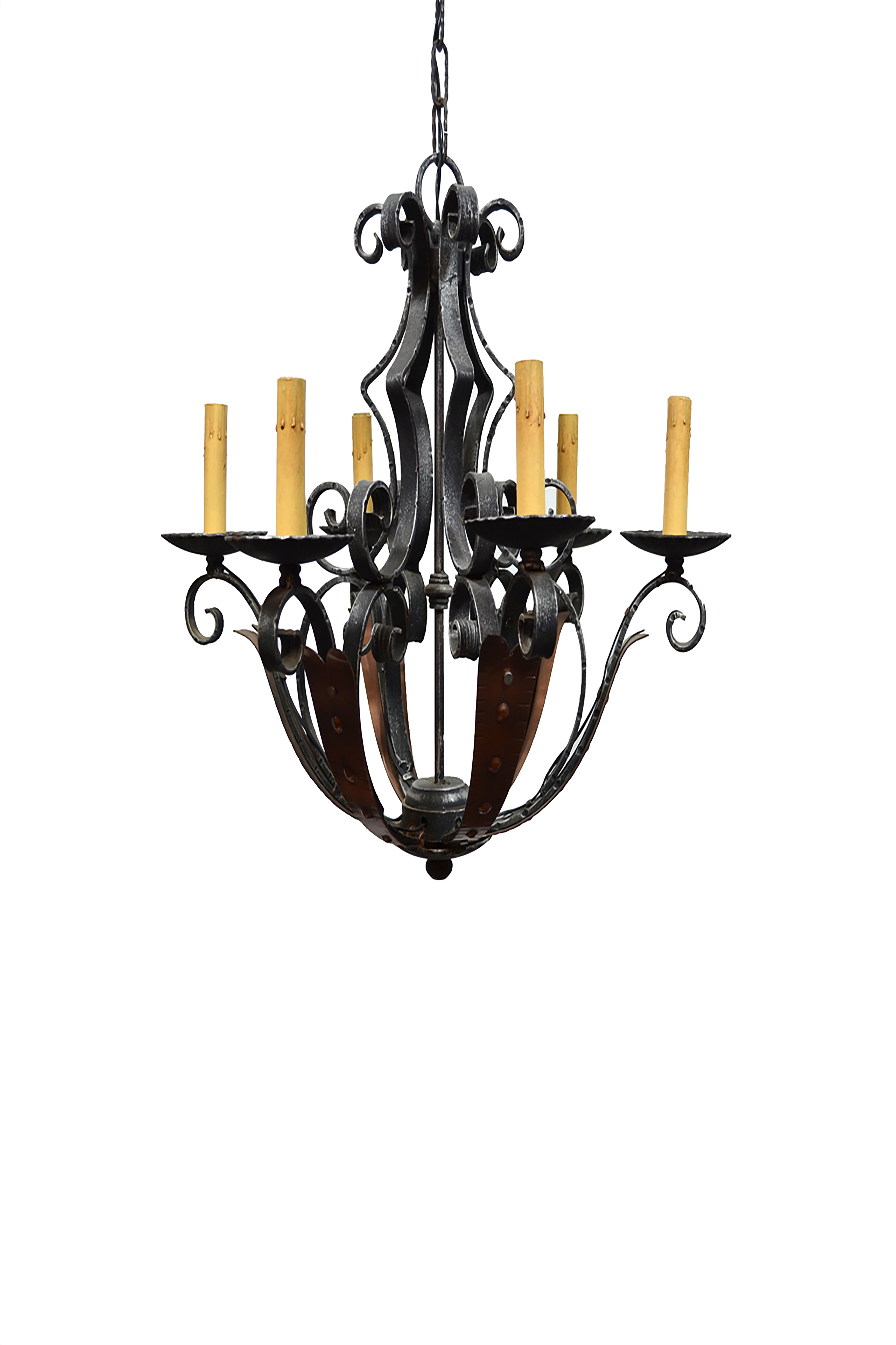 Iron Copper Patina Chandelier
