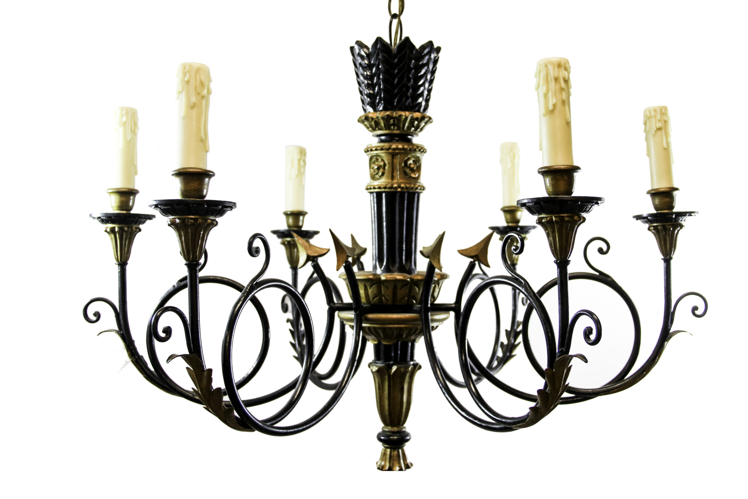 Black and Gold 6 Light Chandelier   The Lamp Shoppe