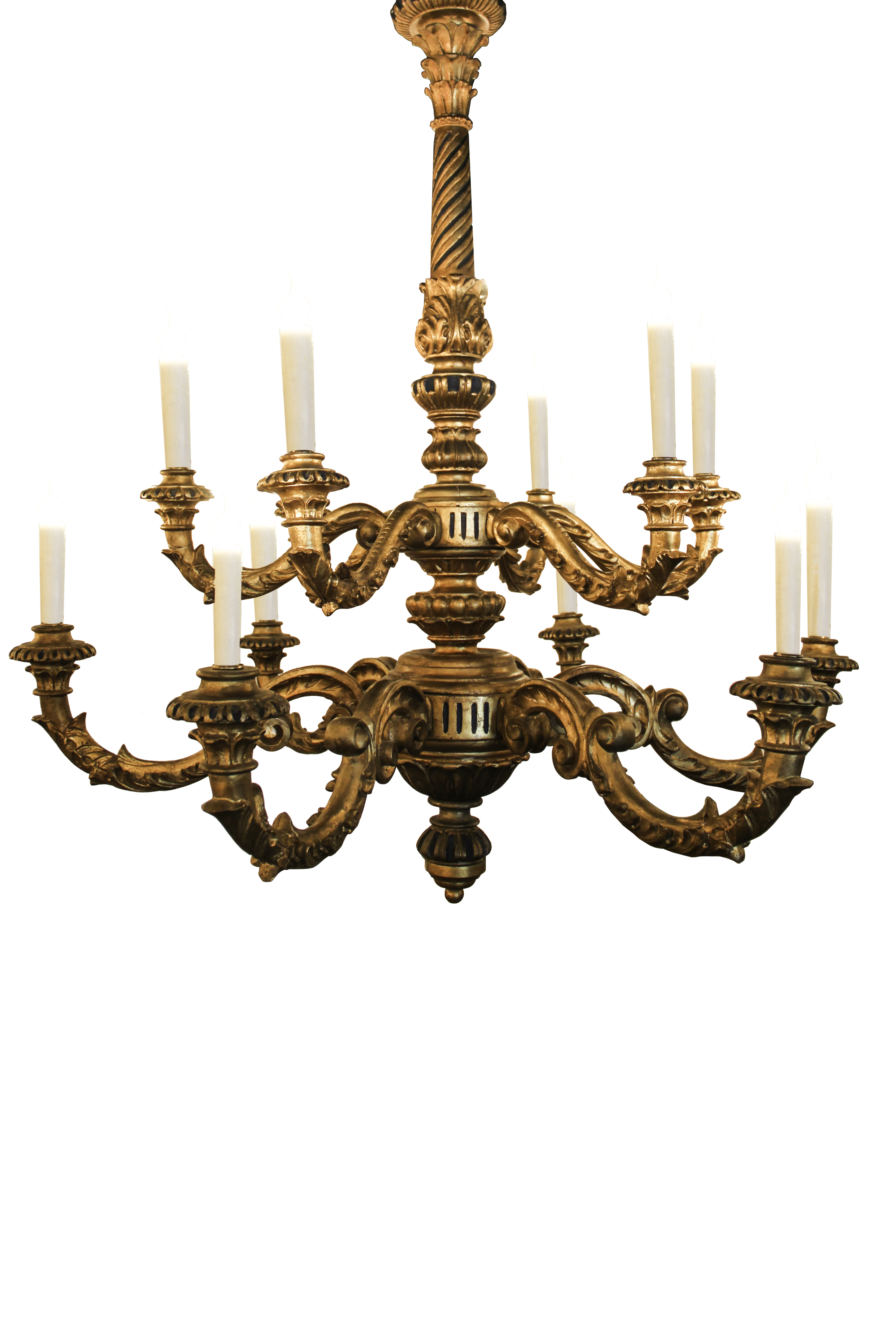 Italian Carved and Gilt Wood Chandelier