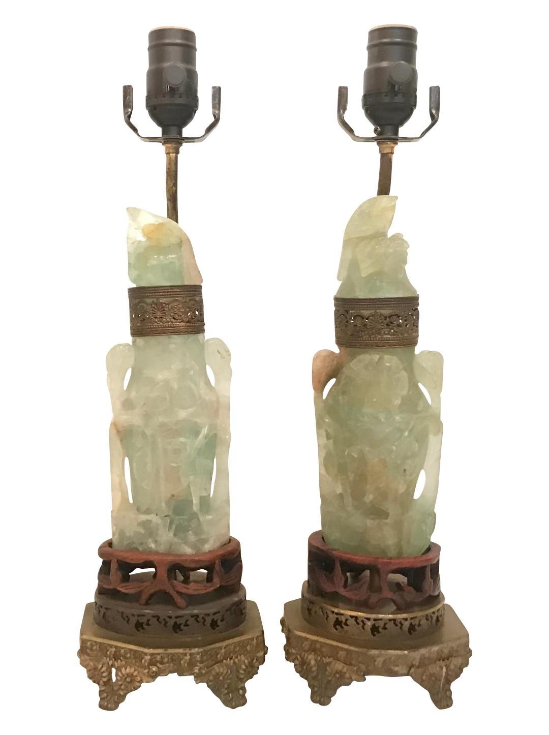 Pair Of Jade Asian Dragon Lamps